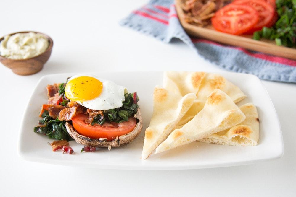 Roasted Portobello, Bacon, Chard and Fried Egg Stackers