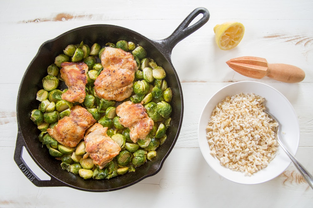 Pan Roasted Chicken and Brussels Sprouts