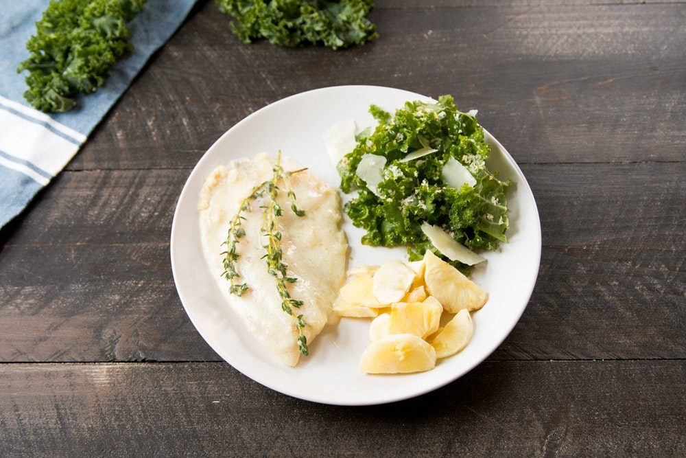 Tilapia with Mustard-Thyme Cream Sauce