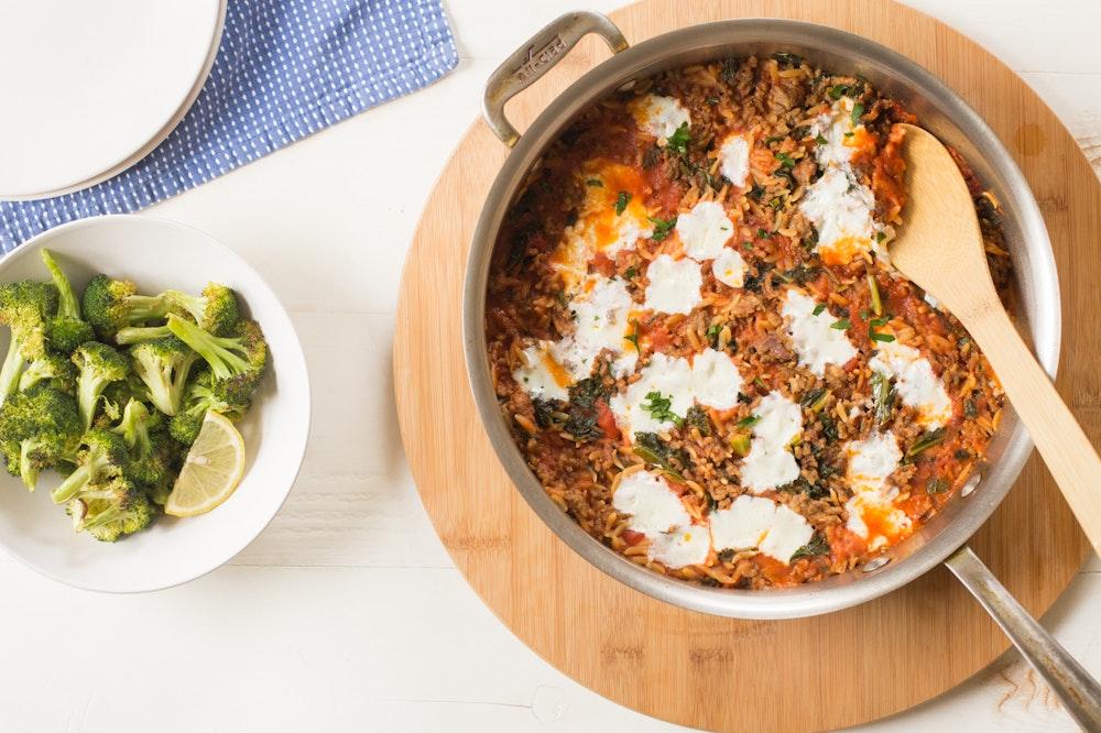 Kale, Sausage and Mozzarella Baked Orzo