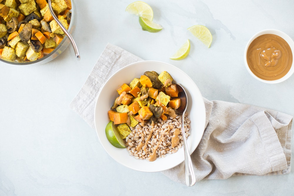 Roasted Tofu and Vegetable Farro Bowls