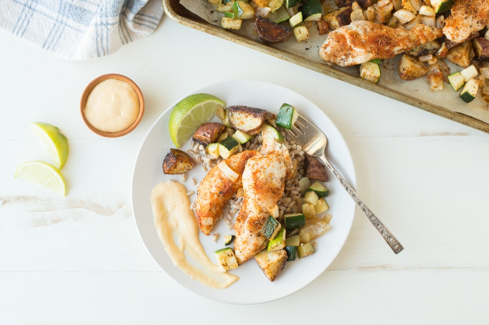 Sheet Pan Jamaican Chicken Tenders and Vegetables
