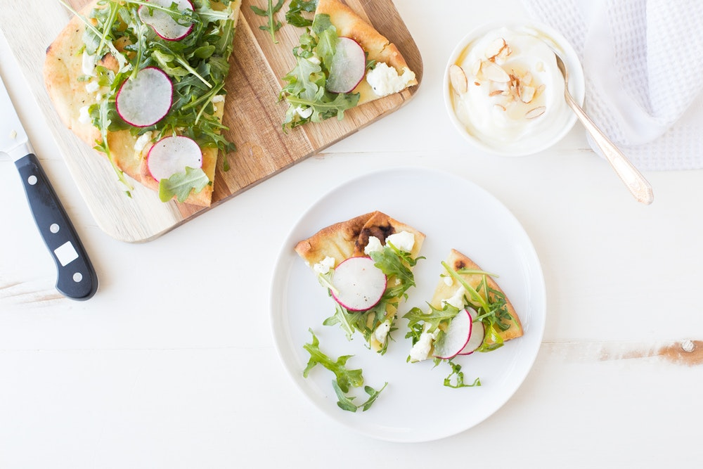 Radish, Arugula, and Goat Cheese Flatbread