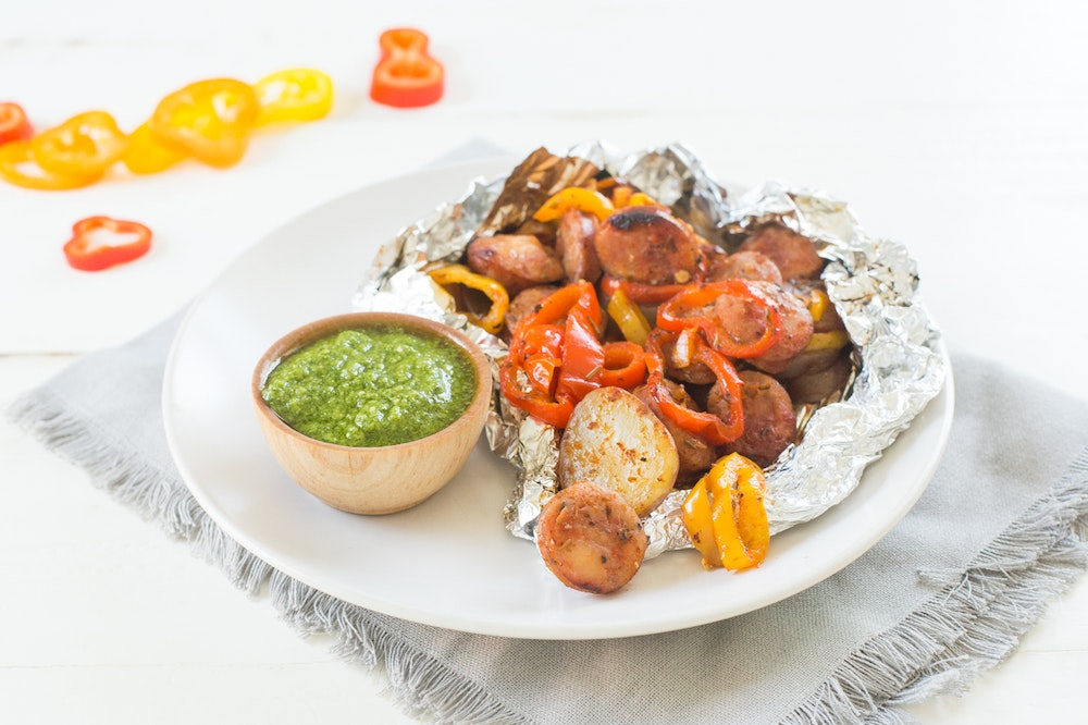 Foil Packet Italian Sausage and Peppers
