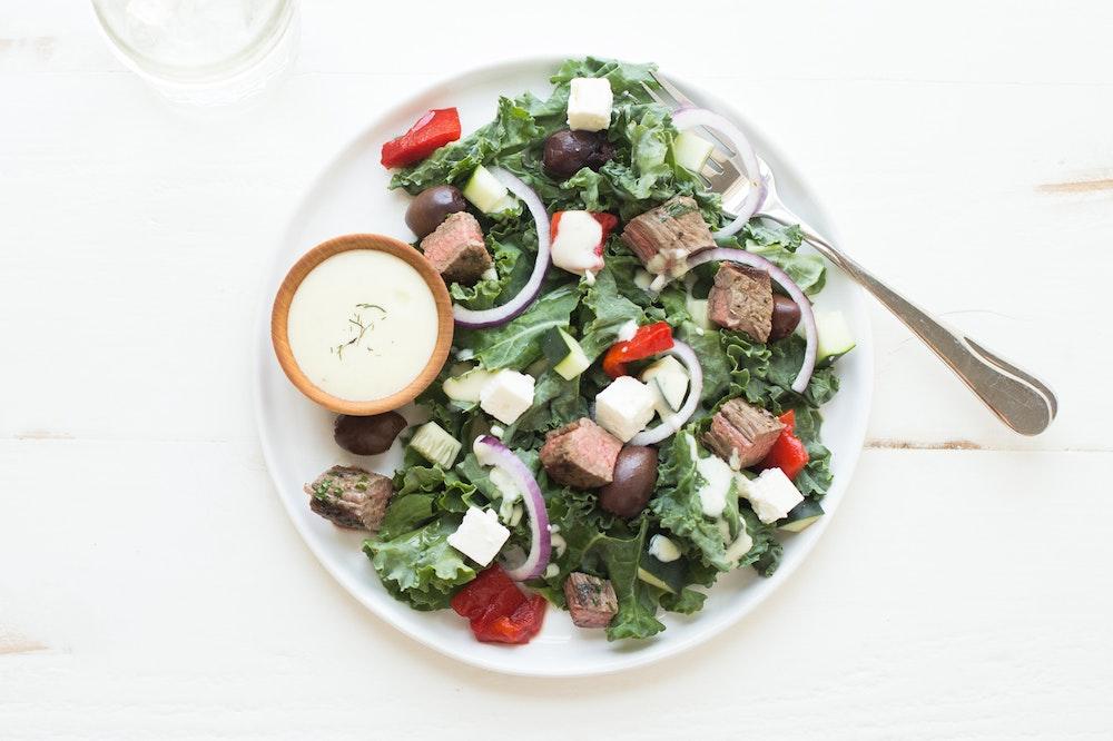 Greek Salad with Portobellos