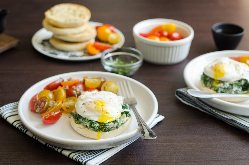 Salmon with Poached Eggs and Creamy Spinach