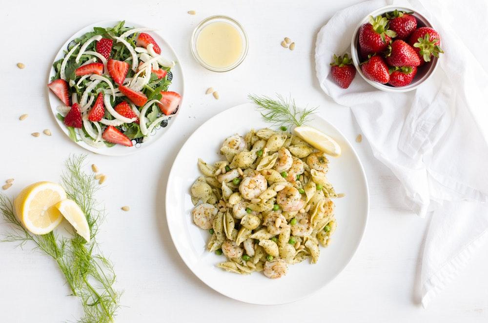 Pesto Pasta with Shrimp and Peas