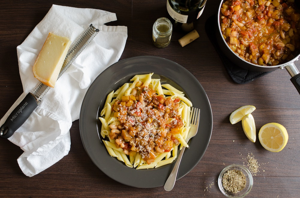 Penne with Eggplant and Tomato Ragu