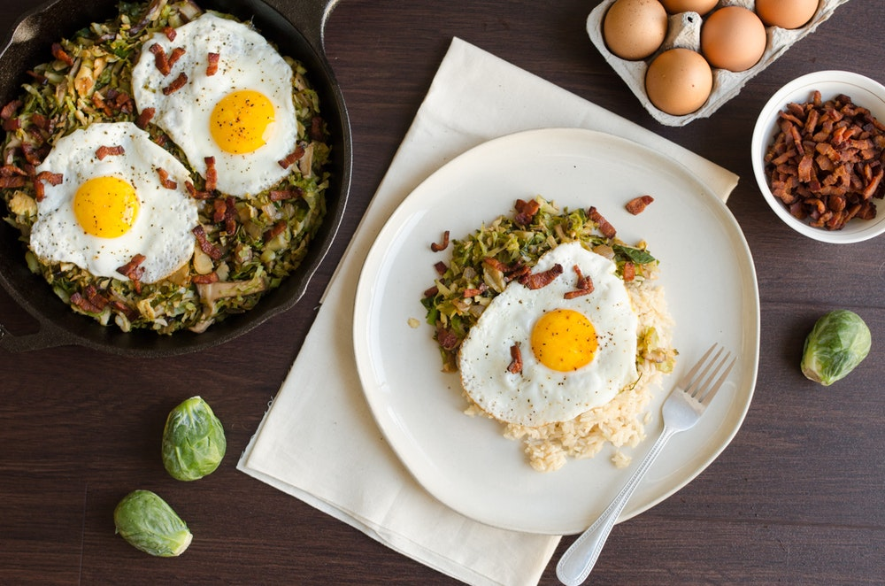 Fried Eggs with Asian-Style Hash