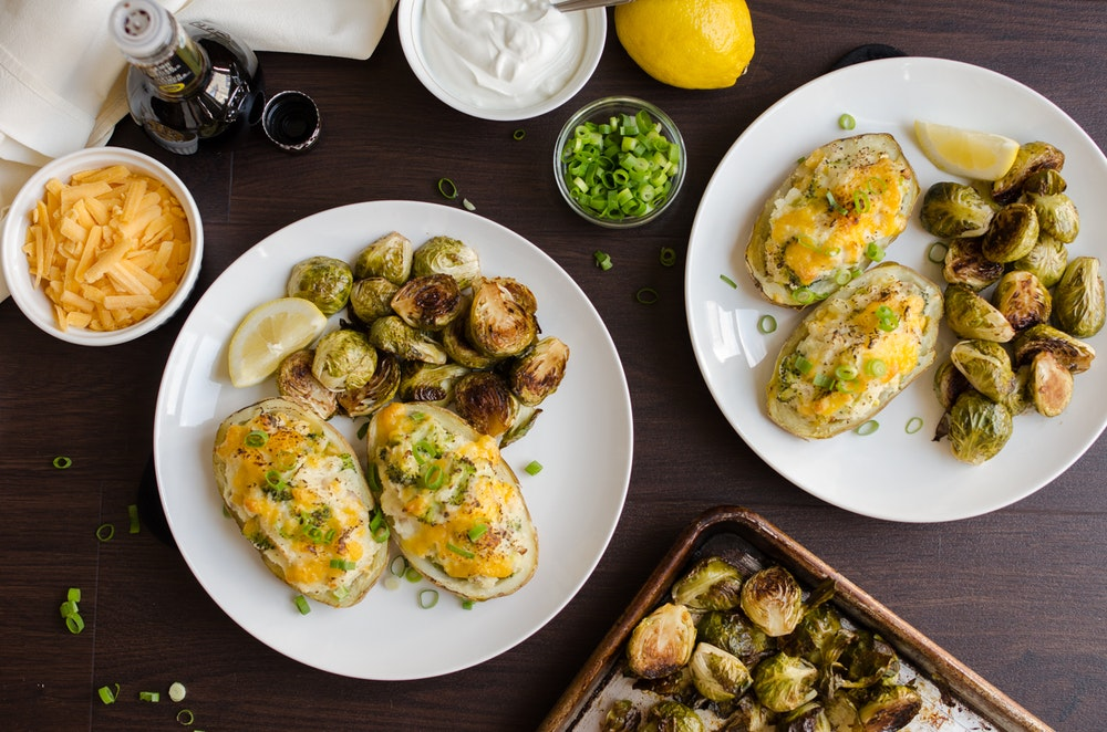 Twice-Baked Sweet Potatoes with Broccoli and Sausage