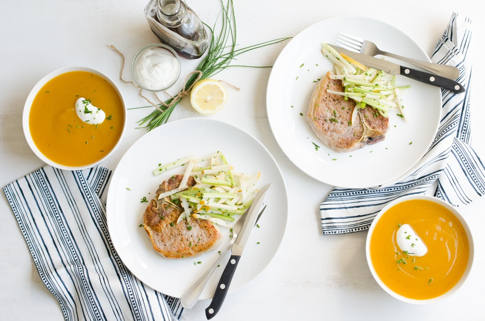 Pork Chops with Pear and Celery Slaw