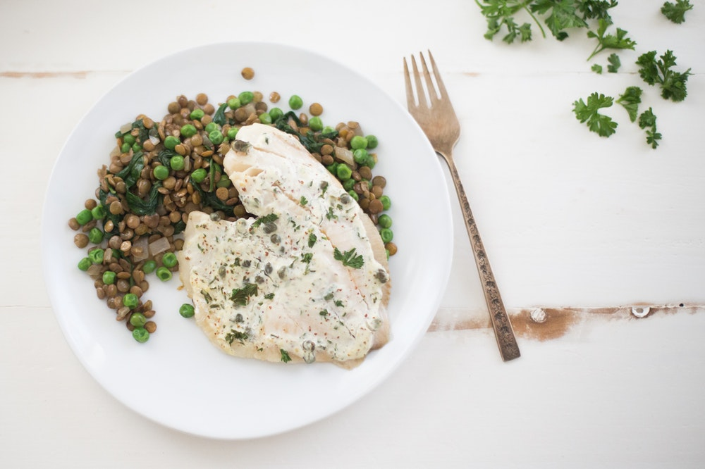 Sauteed Lentils, Peas, Cauliflower, and Spinach