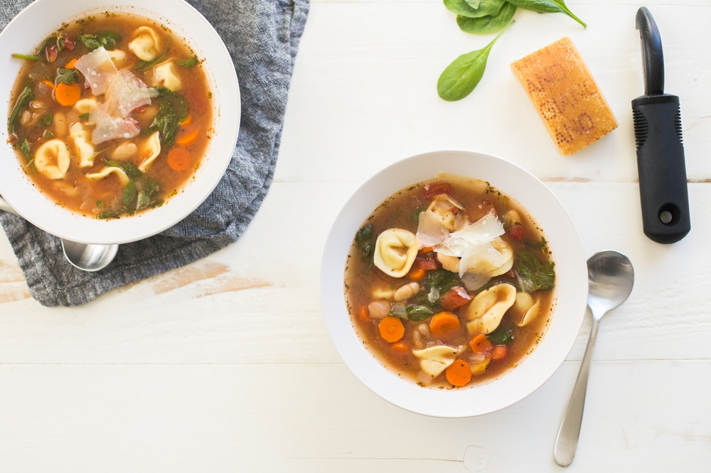 Slow Cooker (or not) Vegetable Tortellini Soup