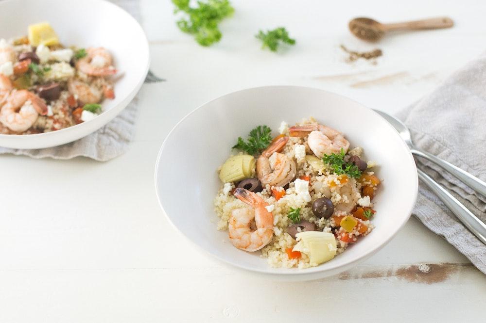 Mediterranean Shrimp and Couscous Saute