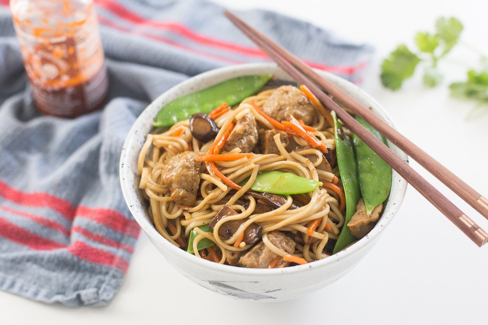 Meatball and Noodle Stir-fry