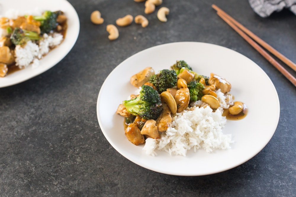 Broccoli, Cashew, and Chickpea Stir-fry