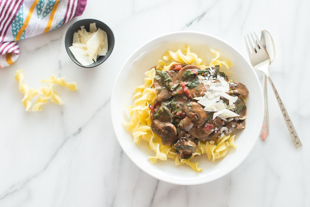 Creamy Chard and Mushroom Stroganoff