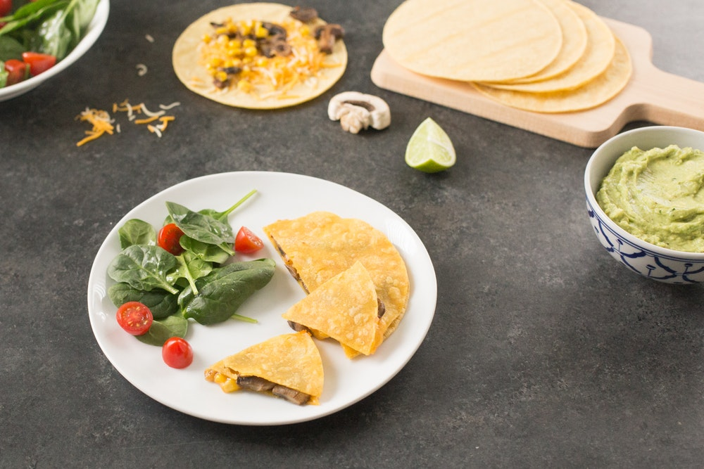 Mushroom and Corn Quesadilla