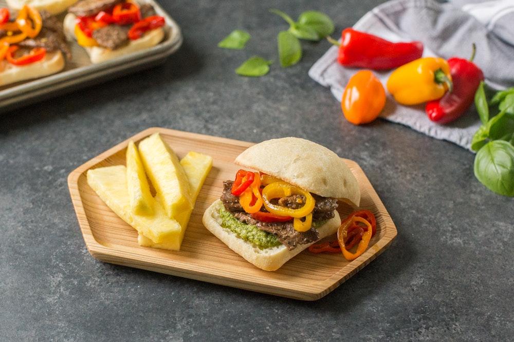 Skirt Steak Sandwiches with Pesto