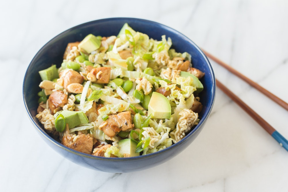Asian Chicken Salad with Crunchy Ramen