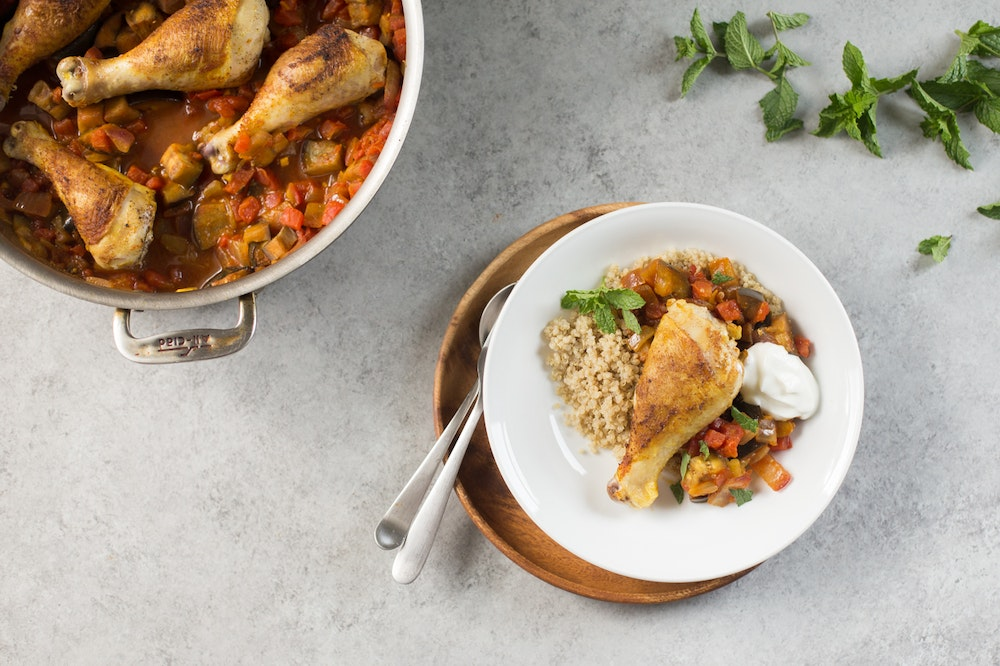 Moroccan Chicken with Tomatoes and Eggplant