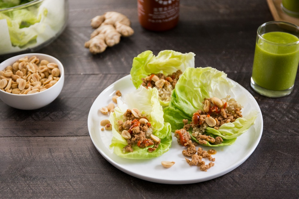 Thai Red Curry Pork and Quinoa Lettuce Cups