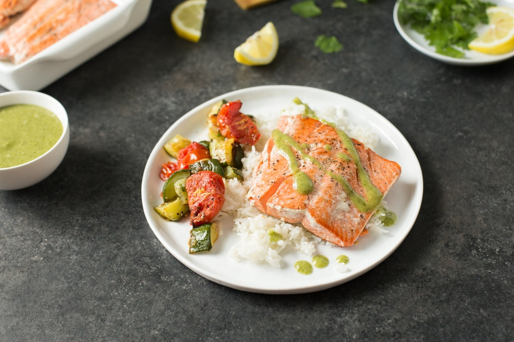 Salmon with Cilantro Garlic Sauce