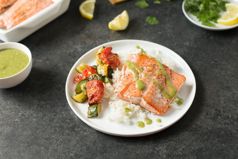 Salmon with Cilantro Garlic Sauce