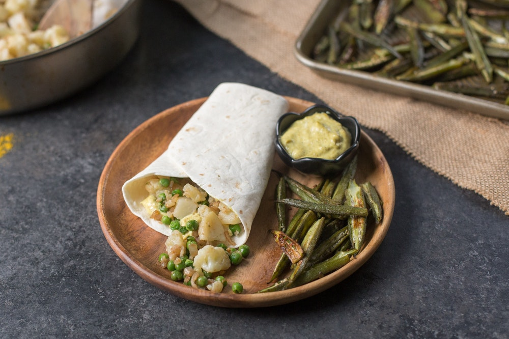 [Leftover] Samosa Wrap with Cauliflower, Potatoes, and Chickpeas