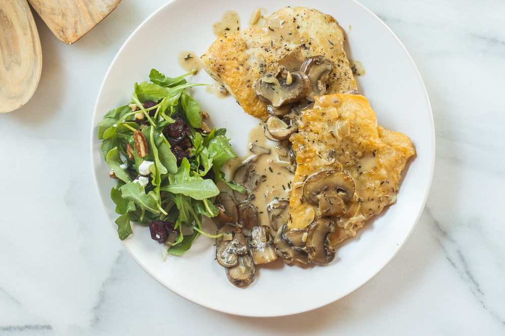 Chicken with Mushroom White Wine Sauce