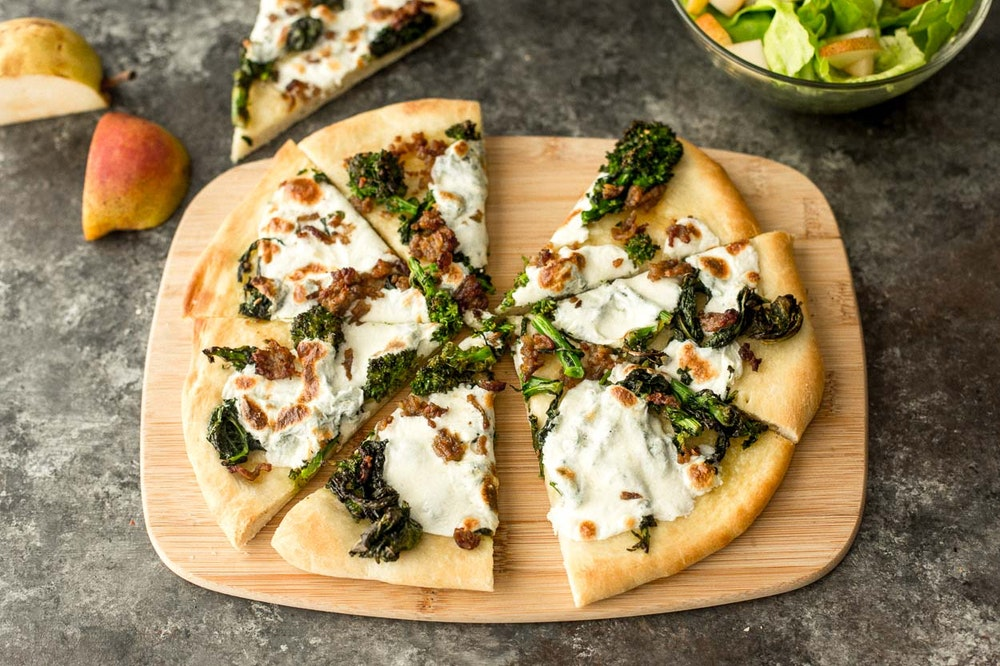 Pizza Bianca with Sausage and Broccoli Rabe