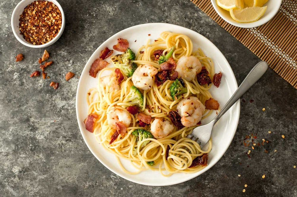 Shrimp and Sun-Dried Tomato Carbonara