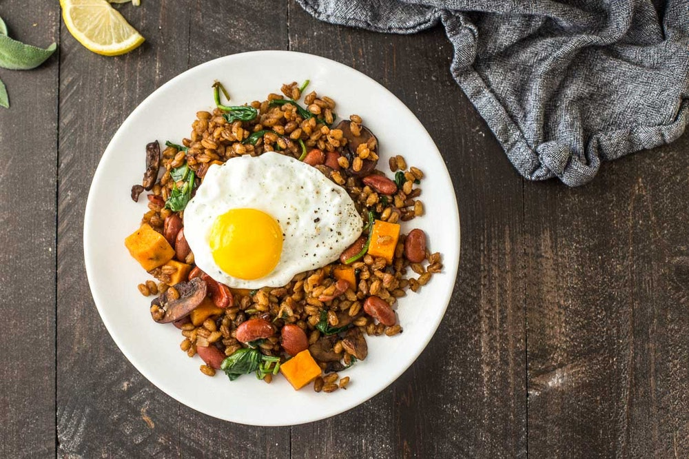 Balsamic Farro Saute with Sweet Potatoes