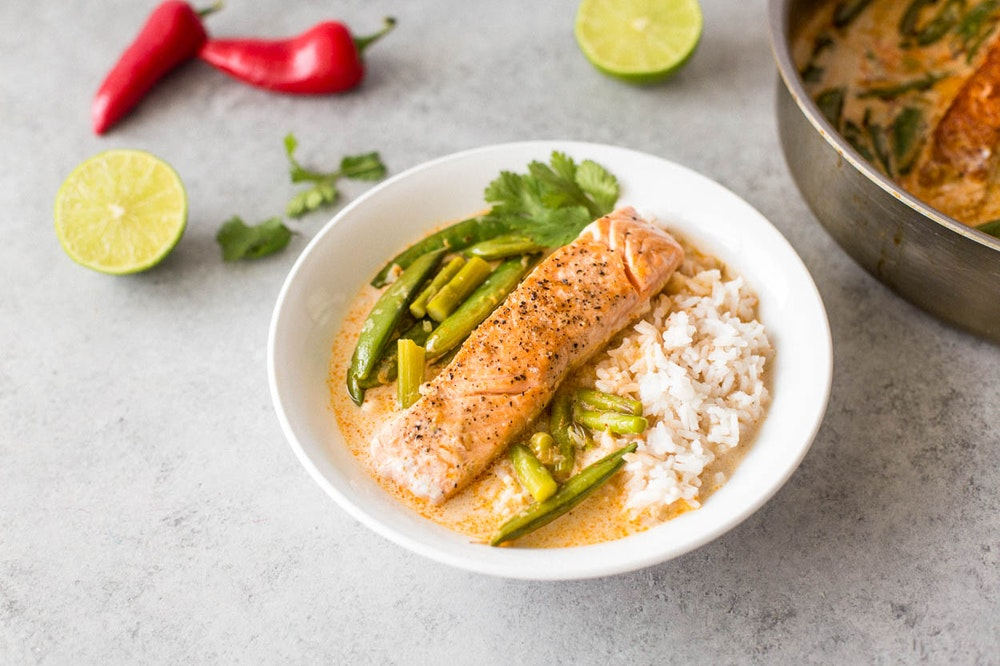 Poached Salmon in Coconut Lime Curry