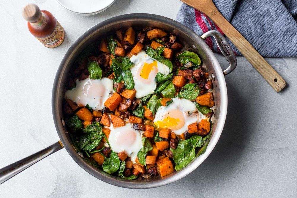 Sweet Potato and Vegan Sausage Breakfast Hash