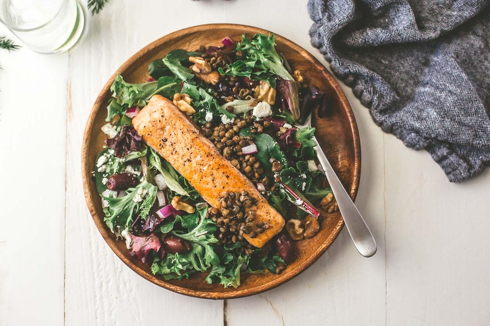 Warm Salmon and Lentil Salad