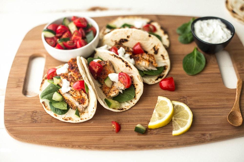 Greek Tilapia Tacos with Tzatziki