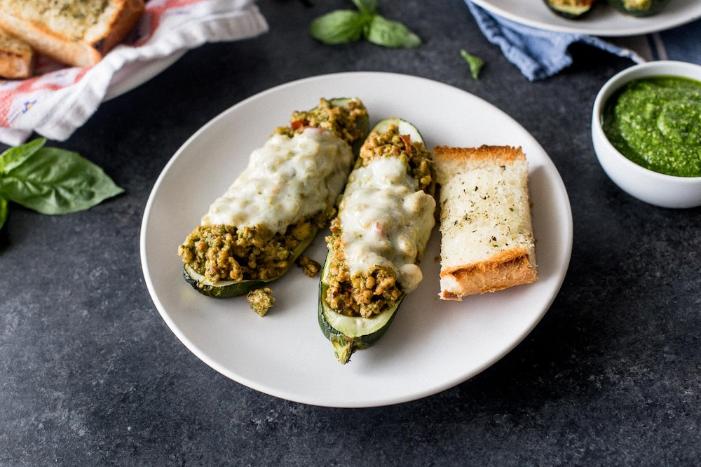 Zucchini Boats with Pesto Turkey