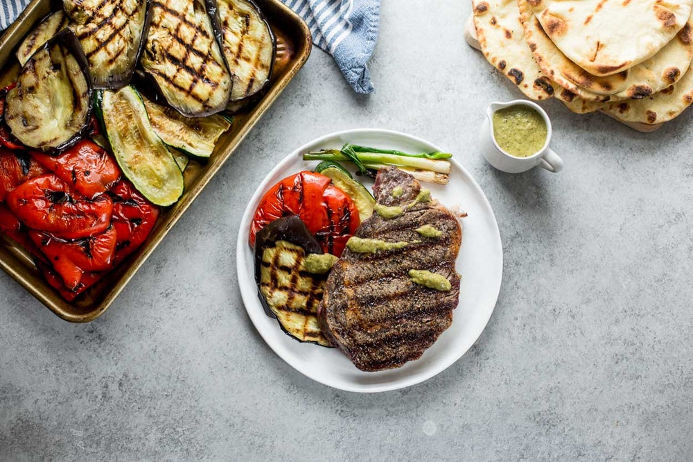 Grilled Vegetables with Charred Green Onion Vinaigrette