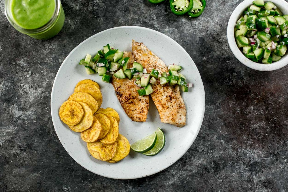 Jerk Fish with Cucumber Salsa