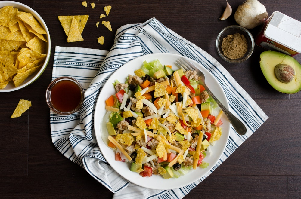 Taco Salad with Spiced Pinto Beans