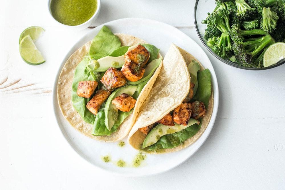 Salmon Tacos with Avocado