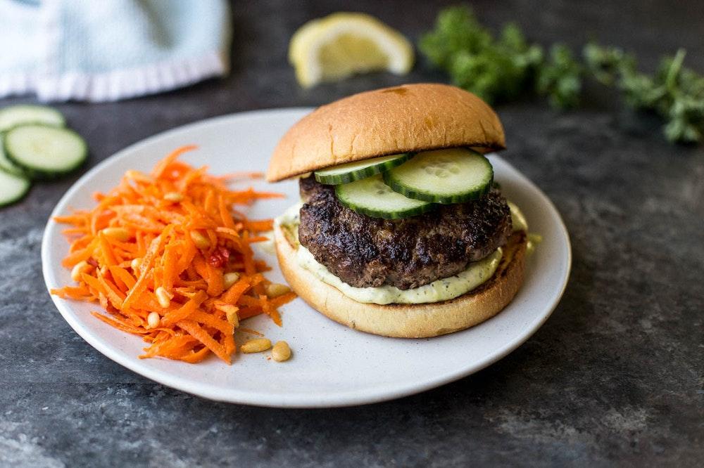 Kofta Lentil Burger with Chermoula Mayo
