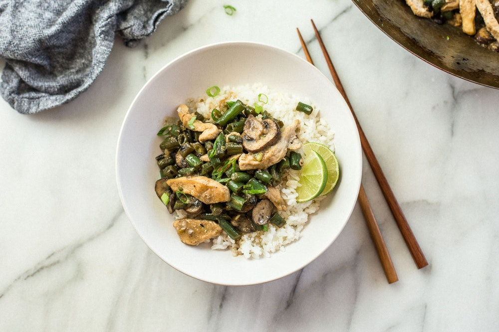 Chicken, Green Bean, and Mushroom Stir-fry