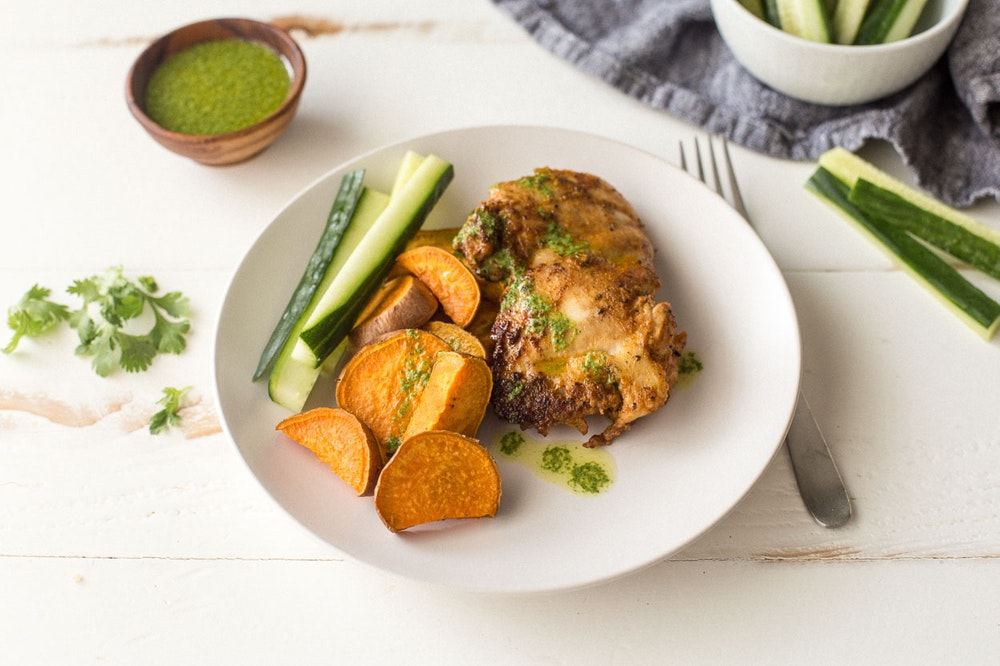 Sheet Pan Peruvian Chicken and Sweet Potatoes