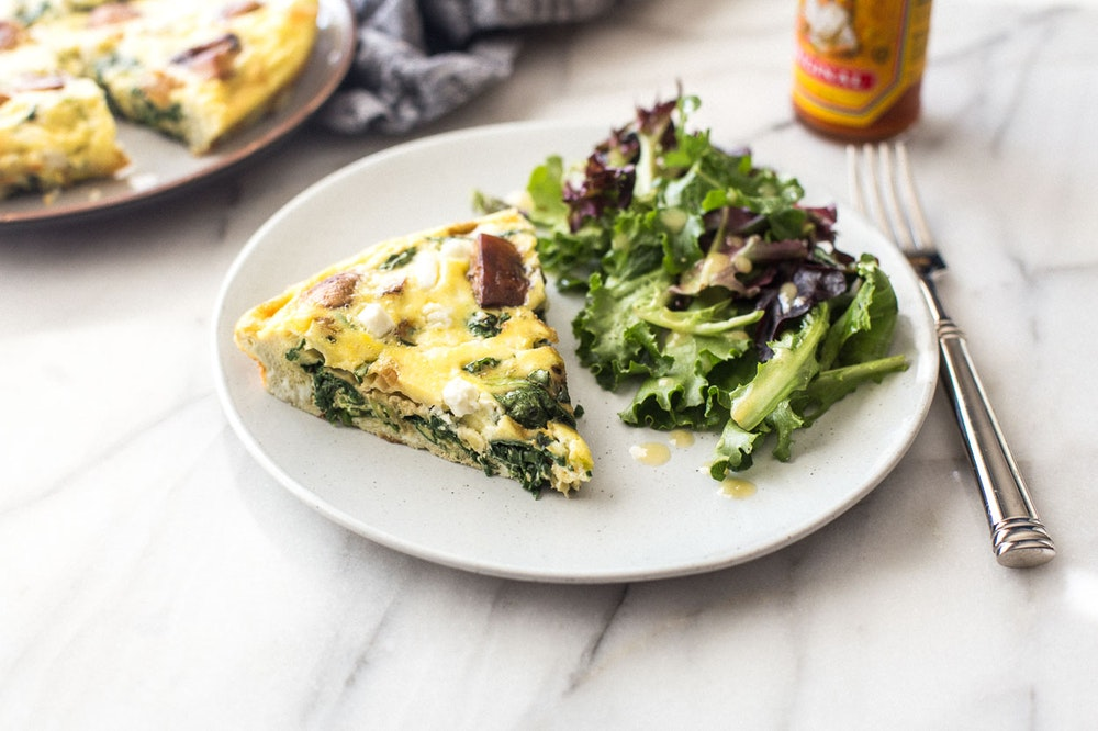 Spinach, Mushroom, and Feta Frittata