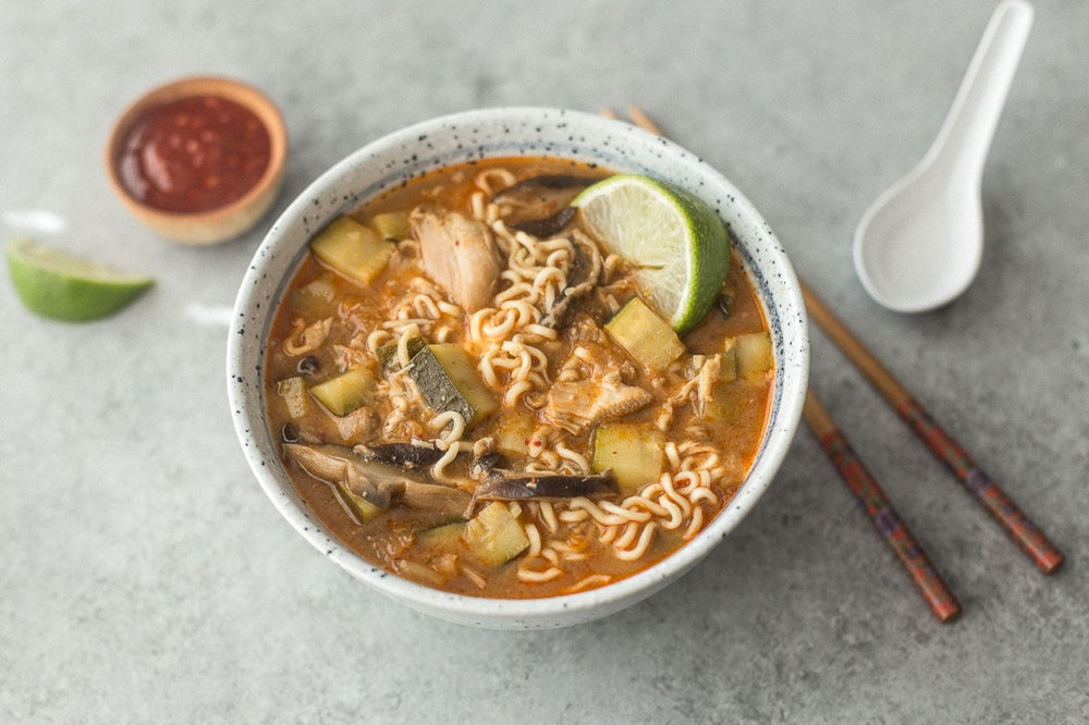 Slow Cooker (or not) Kimchi Chicken Ramen
