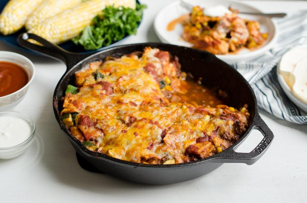 Skillet Enchiladas with Ground Beef