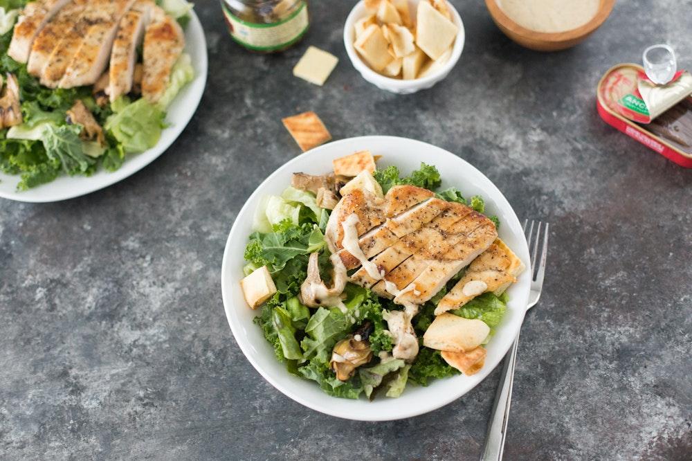 Kale Caesar Salad with Lemon Pepper Chicken