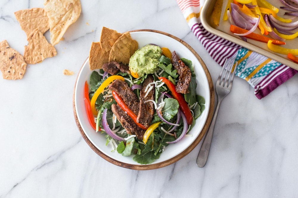 Sheet Pan Steak Fajita Salad with Baby Kale